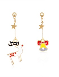 Fashion Color Asymmetrical Drip Oil Fawn Bow Bell Earrings