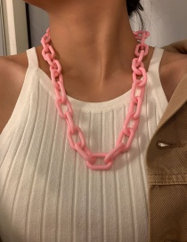 Fashion Pink Acrylic Thick Chain Hollow Necklace