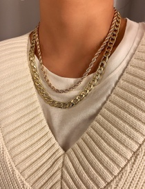 Fashion Gold Color Alloy Thick Chain Hollow Multi-layer Necklace