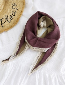 Fashion Claret Color-blocking Cotton Linen And Lace Scarf