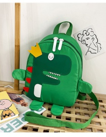Fashion Green Tuba Nylon Cloth Dinosaur Stitching Childrens Backpack