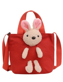 Fashion Red Canvas Rabbit Doll Childrens One-shoulder Messenger Bag