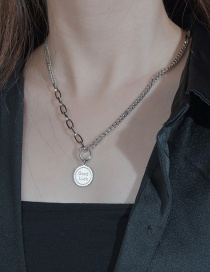 Fashion Silver Color Round Letter Stitching Stainless Steel Necklace