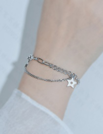 Fashion Silver Color Love Five-pointed Star Stainless Steel Multilayer