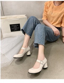 Fashion White Square Toe Buckle Thick Mid-heel Shallow Toe Shoes