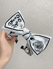 Fashion Big White Print Bowknot Fabric Flower Print Wide-brimmed Headband Hair Rope