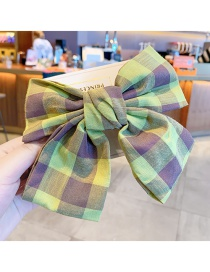 Fashion Green Plaid Bow Childrens Hairpin With Big Bow Fruit And Flower Print