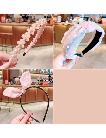 Fashion Pearl Flower Pink Three-piece Suit Fabric Bowknot Checkered Net Yarn Printing Knotted Wide Side Childrens Headband