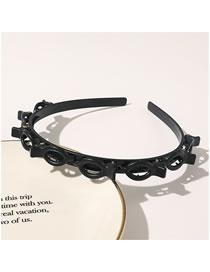 Fashion Black Hollow Woven Resin Thin Side Multilayer Headband