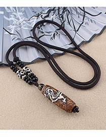 Fashion Dragon Pattern Agate Dzi Necklace Tibetan Agate Dzi Dragon Pendant Necklace