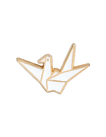 Fashion White Thousand Paper Crane Alloy Paint Brooch