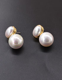 Fashion White Diamond And Pearl Alloy Round Earrings