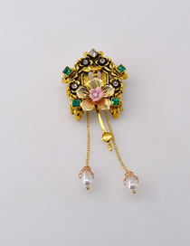 Fashion Gold Color Resin Alloy Brooch With Pearl And Diamond Flower