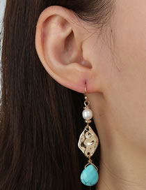 Fashion Gold Color Natural Turquoise Geometric Alloy Earrings
