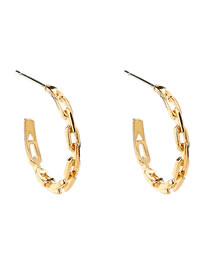 Fashion Gold Color Alloy Lattice Chain C-shaped Ear Pins