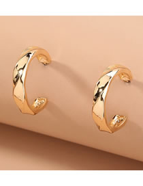 Fashion Gold Color Wavy C-shaped Geometric Alloy Earrings
