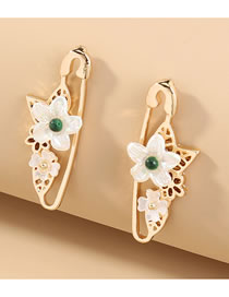 Fashion Gold Color Plum Blossom Pin Alloy Hollow Shell Earrings