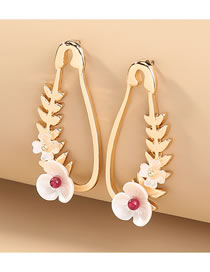 Fashion Gold Color Flower Shell Leaf Alloy Pin Earrings