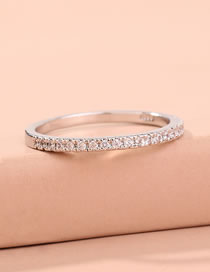 Fashion Silver Color White Copper And Diamond Alloy Thin Edge Ring