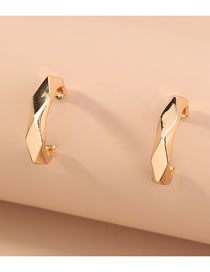Fashion Gold Color C-shaped Polygonal Faceted Alloy Earrings