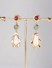 Fashion Gold Color Contrast Color Drop Agate Geometric Earrings