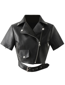 Fashion Black Short Multi-zip Leather Jacket With Belt