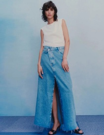 Fashion Denim Blue Denim Skirt With Irregular Slits