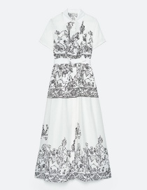 Fashion White Printed Lapel And Belt Stitching Dress