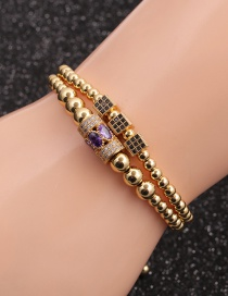 Fashion Gold Colorful Suit Micro-inlaid Zircon Cube Cylindrical Water Drop Bracelet Set
