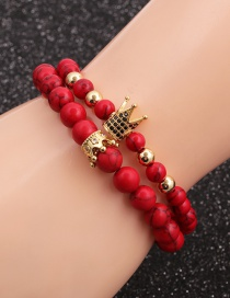 Fashion Red Pine Crown Set Red Turquoise Crown Diamond Beaded Bracelet Set