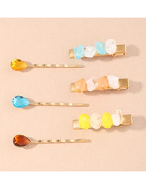 Fashion Color Mixing Crystal Geometric Alloy Hit Color Hairpin Set