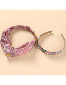 Fashion Pink Flower Print Cross Elastic Headband Headband