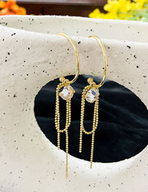 Fashion Gold Color C-shaped Diamond Tassel Alloy Earrings