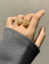 Fashion Champagne Crystal Glazed Bead Flower Open Ring