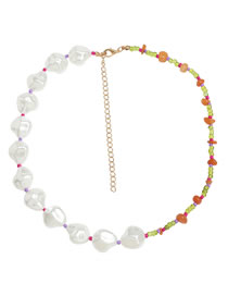 Fashion Half Pearl Imitation Pearl Stitching Resin Rice Bead Necklace