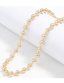 Fashion Gold Color Round Bead Chain Alloy Necklace