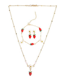 Fashion Strawberry Necklace Set Alloy Dripping Strawberry Earrings Bracelet Necklace Set