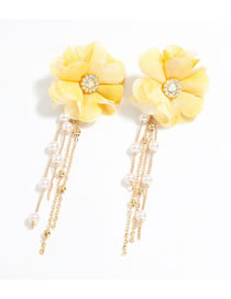 Fashion Yellow Fabric Big Flower Alloy Inlaid Pearl Tassel Earrings