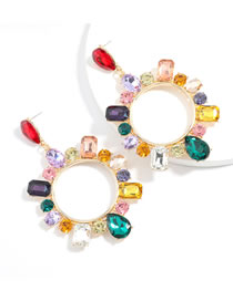Fashion Color Claw Chain Alloy With Colored Diamond Geometric Earrings
