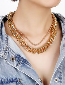 Fashion Gold Color Thick Chain Alloy Multilayer Necklace