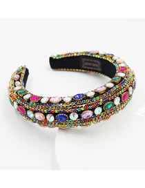 Fashion Color Rhinestone-studded Geometric Sponge Broad-edged Headband