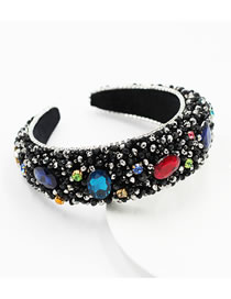 Fashion Geometry Rhinestone-studded Geometric Crystal Beaded Sponge Headband