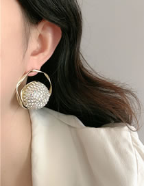 Fashion Gold Color Geometric Round Diamond Earrings With Diamonds