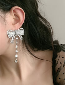 Fashion Silver Color Fringed Bow And Diamond Alloy Earrings