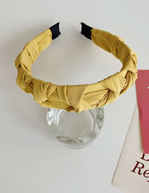 Fashion Yellow Knotted Woven Pleated Solid Color Wide-brimmed Headband