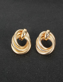 Fashion Golden Alloy Geometric Ring Twisted Earrings