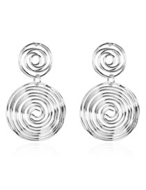 Fashion Silver Alloy Round Hollow Earrings