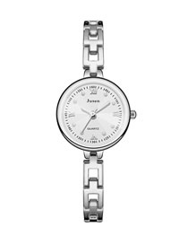 Fashion Silver With White Noodles Small Dial Thin Strap Water Diamond British Bracelet Watch