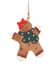Fashion Gingerbread Man With Bow Christmas Tree Wooden Gingerbread Man Doll Pendant