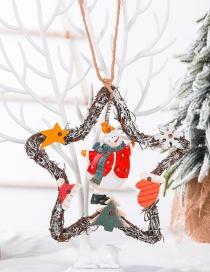 Fashion Snowman Five-pointed Star Vine Circle Christmas Snowman Angel Vine Ring Coffee Shop Decoration Pendant